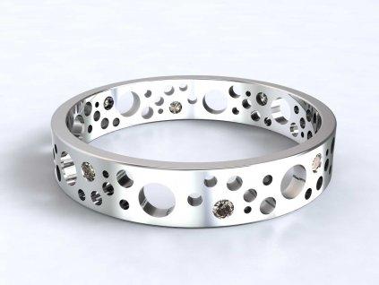 Prsten z bílého zlata s kulatými výsečemi a zirkony  - 3Dstyl 32180101