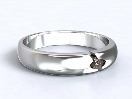Jemný prsten z bílého zlata se zirkonem - 3Dstyl 32150101