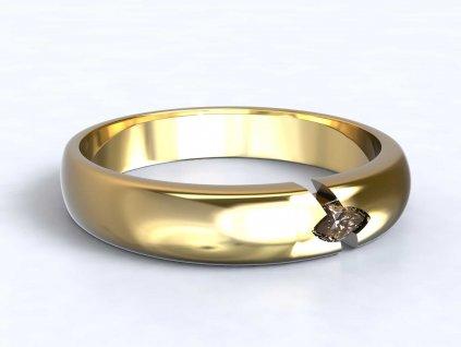 Jemný zlatý prsten se zirkonem - 3Dstyl 32150102