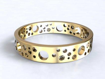 Zlatý prsten s kulatými výsečemi a zirkony  - 3Dstyl 32180102