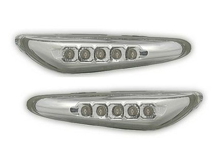 Boční blinkry LED BMW E60, chromové