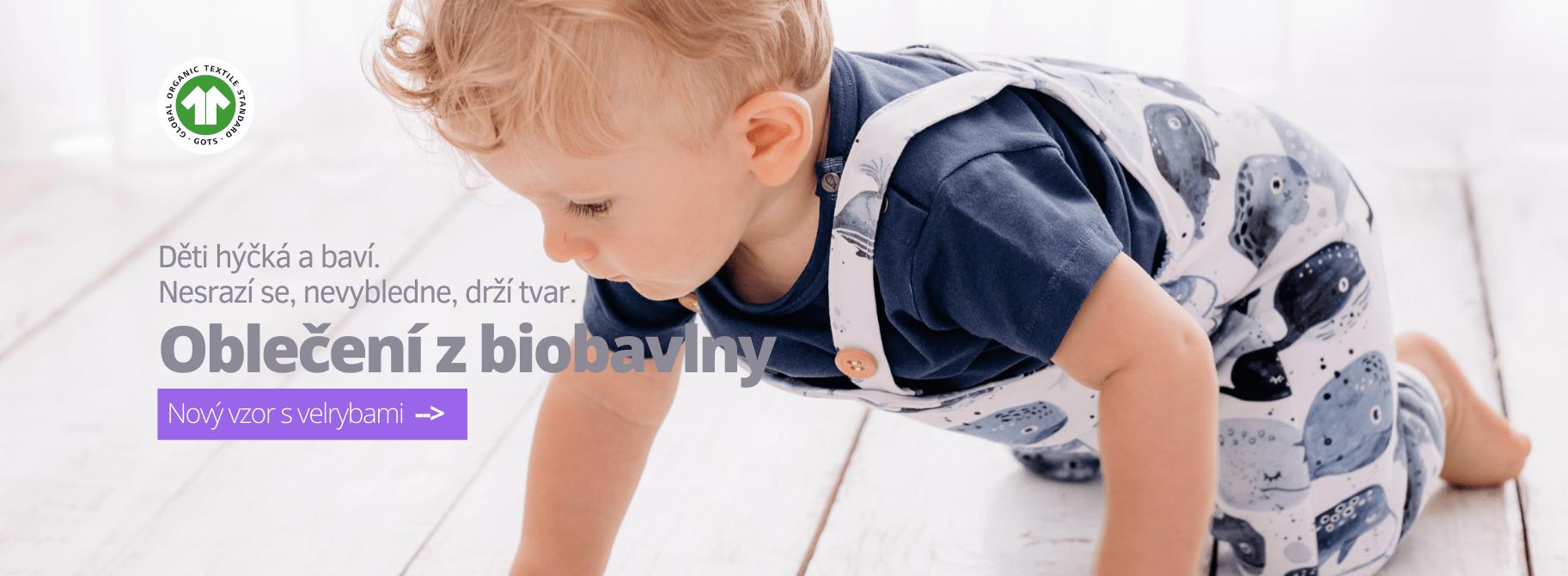 Dětské a kojenecké oblečení z biobavlny - nový vzor s velrybami