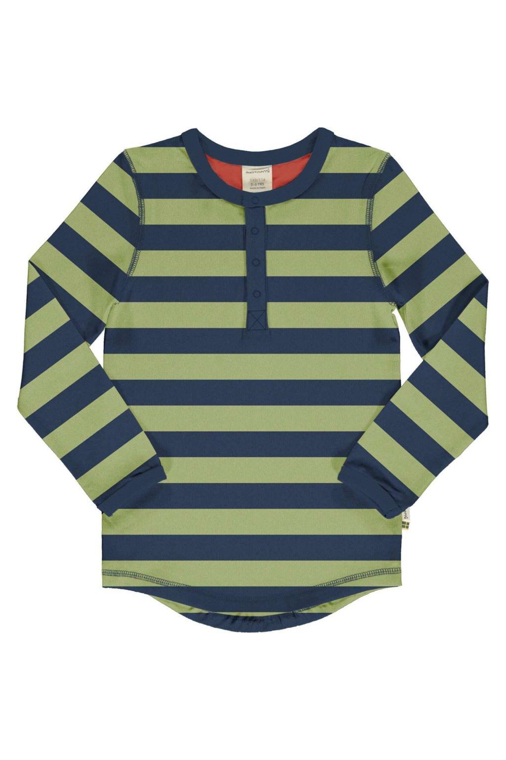 biobavlnene detske tricko s dlouhym rukavem stripe fern maxomorra (1)