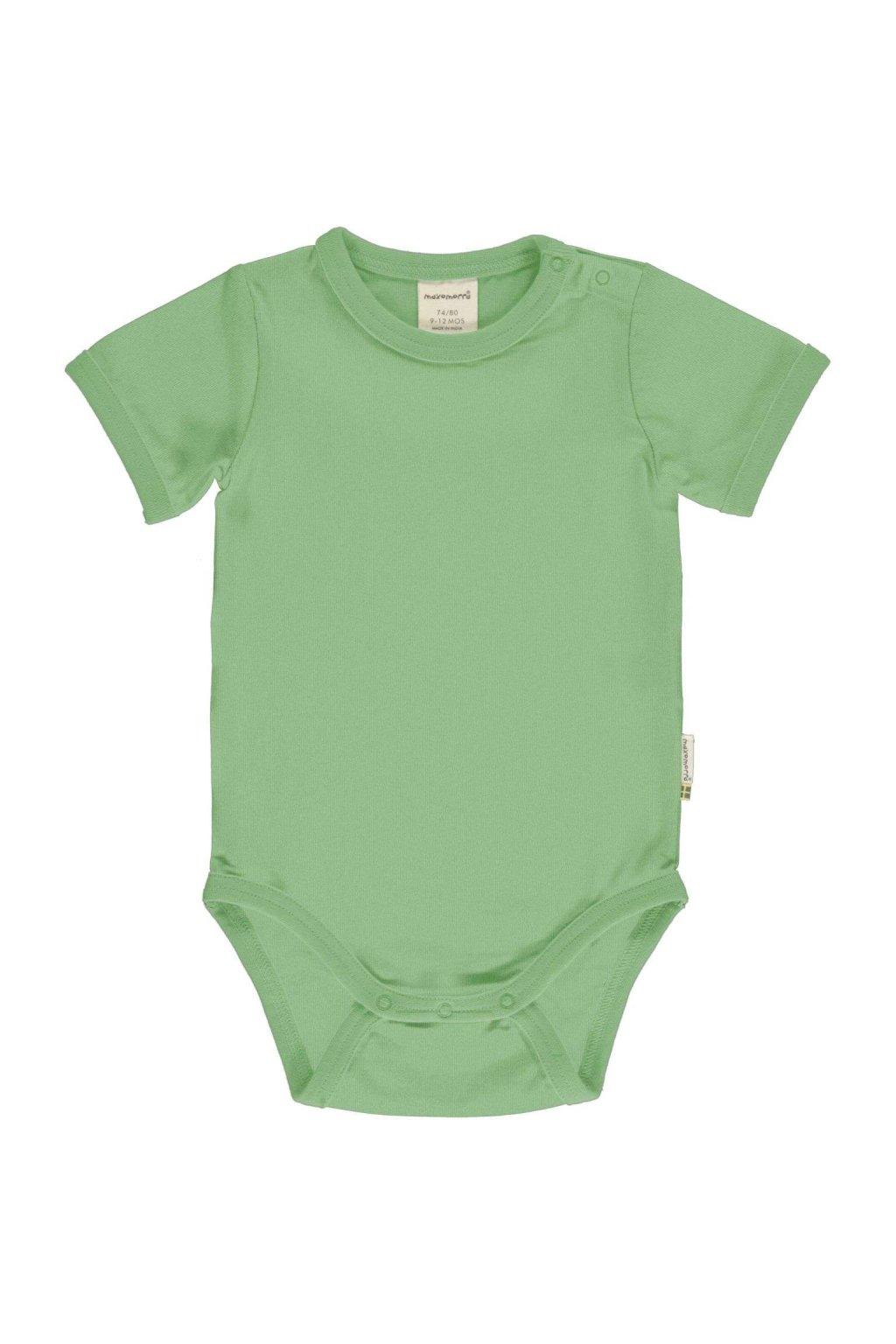 zelene biobavlnene kojenecke body s kratkym rukavem meyadey (2)