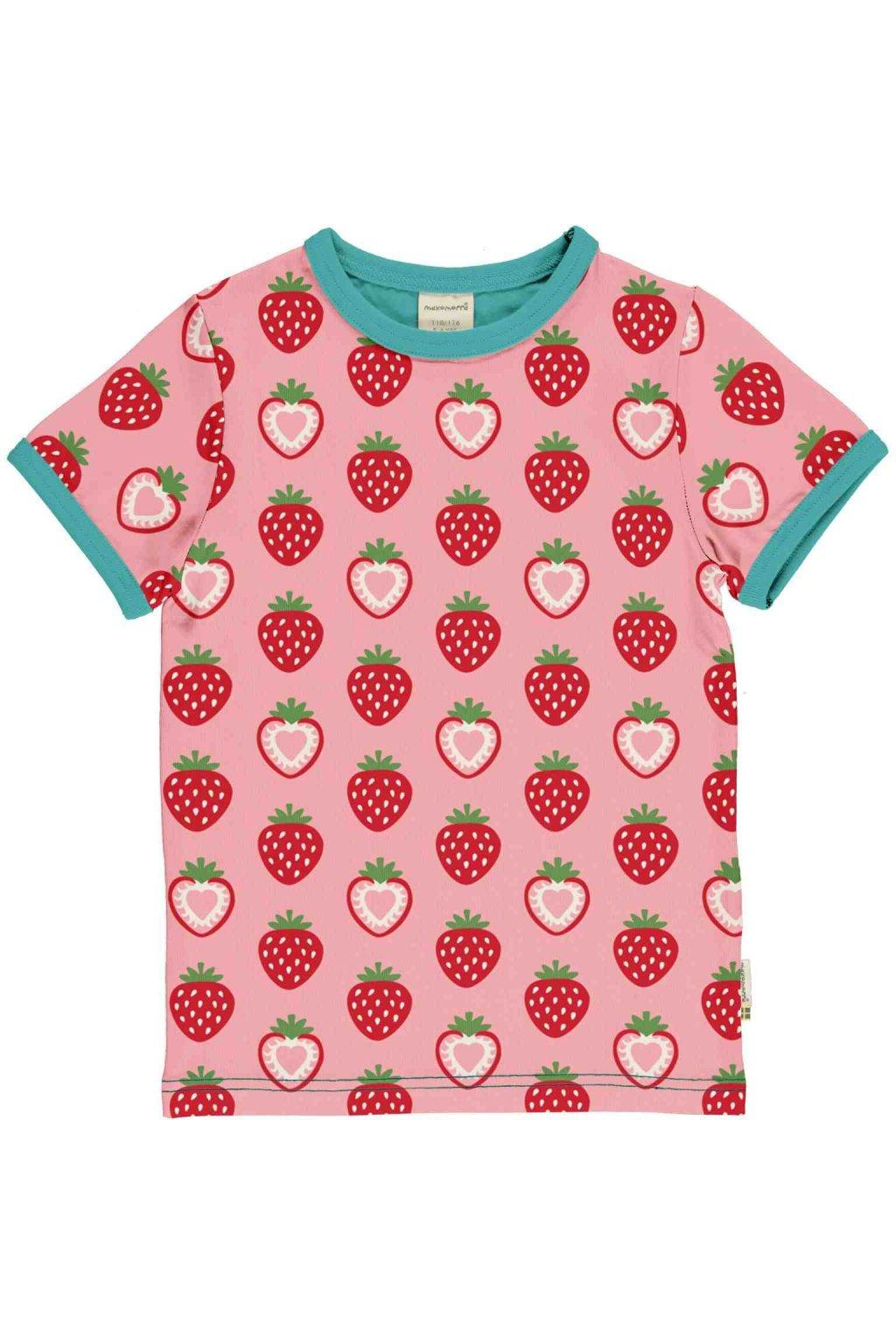 biobavlnene detske tricko s kratkym rukavem strawberry maxomorra (5)