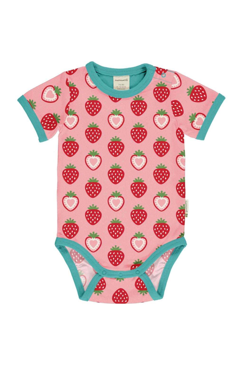 biobavlnene kojenecke body s kratkym rukavem strawbery maxomorra (2)
