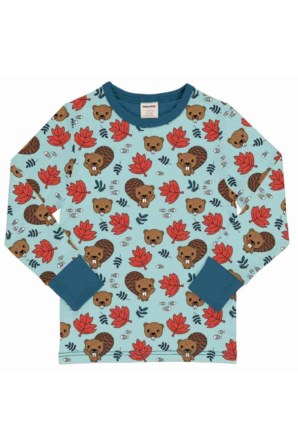 biobavlnene detske tricko s dlouhym rukavem beaver friends meyadey (2)