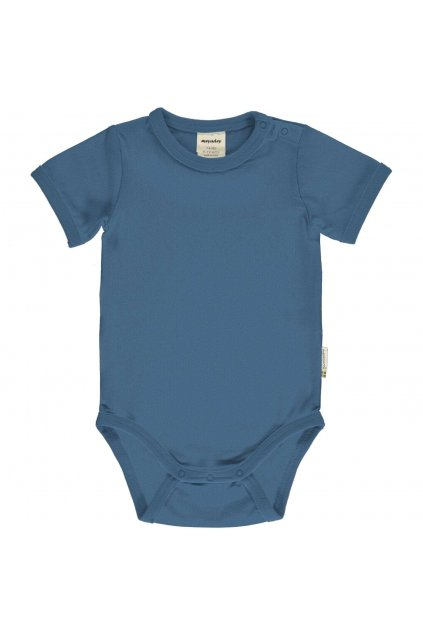 modre biobavlnene kojenecke body s kratkym rukavem meyadey (3)