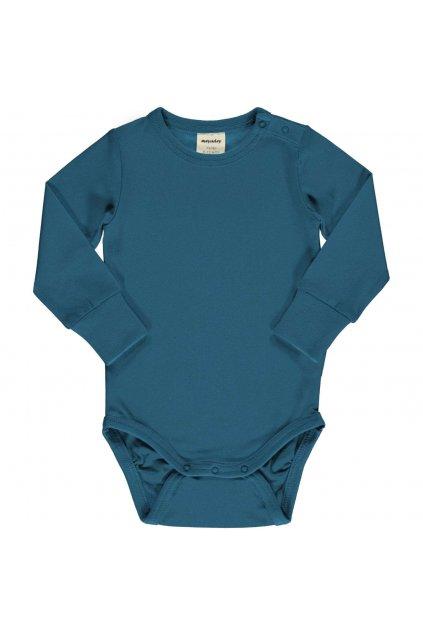 biobavlnene modre kojenecke body s dlouhym rukavem deep water meyadey (1)