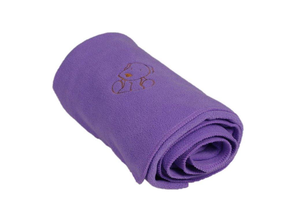 180 detska flisova deka s psickom fialova