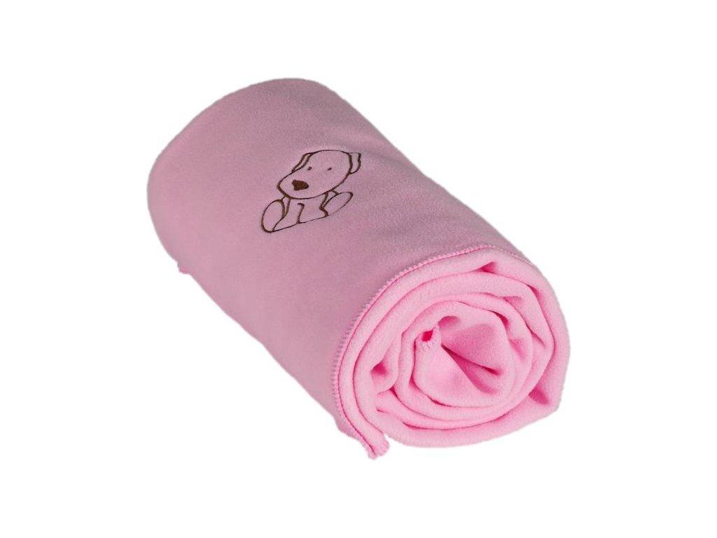 339 detska flisova deka s psickom ruzova