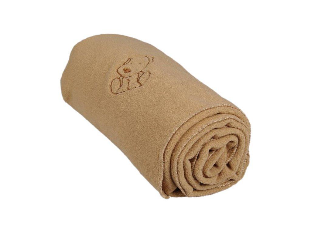 342 detska flisova deka s psickom bezova