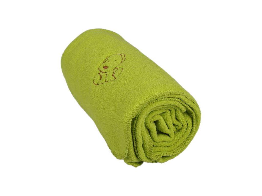405 detska flisova deka s psickom zelena