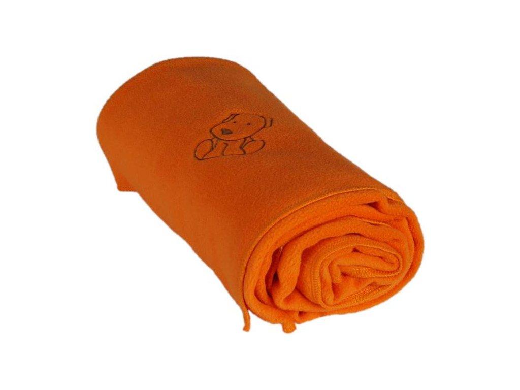 408 detska flisova deka s psickom oranzova