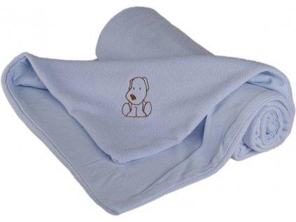 702 detska deka modra s psikom fleece bavlna