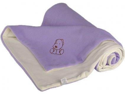 711 detska deka fialovo smotanova s psikom fleece bavlna
