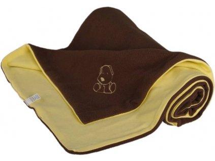 714 detska deka hnedo zlta s psikom fleece bavlna