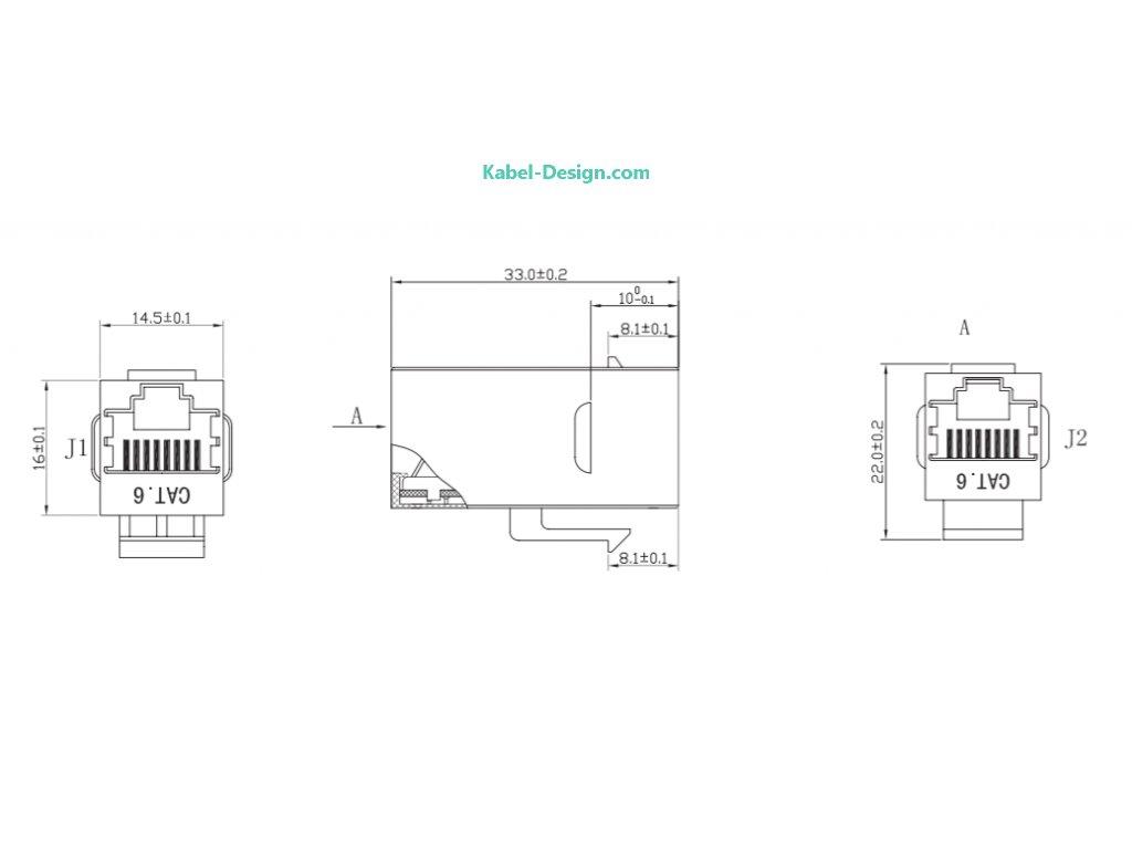 LogiLink® přímá nacvakávací RJ45 Cat.6 zásuvka nestíněná