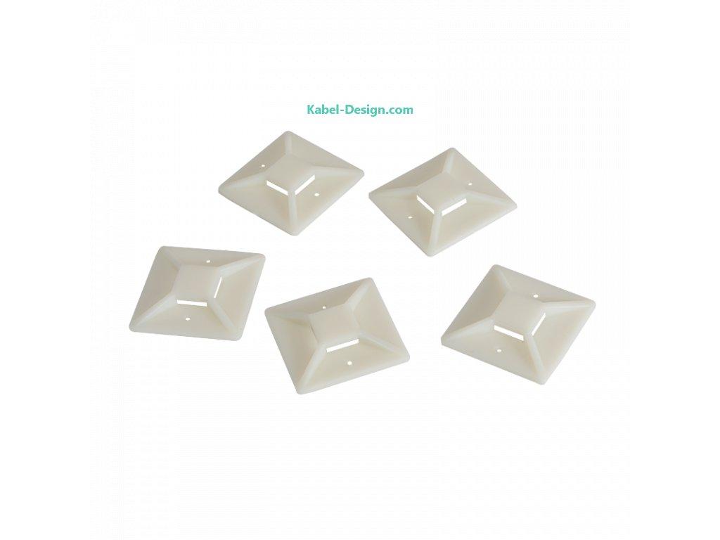 Uchyt stahovací pásky (Balení 100 ks, Barva transparentní, Velikost 39.5 x 39.5 mm)