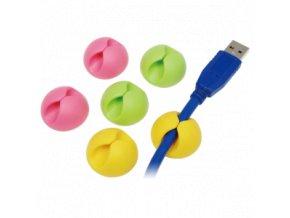 Kabelový úchyt - Cable clip (Balení 6 ks, Barva bílá/černá, Velikost 15 x 15 x 8 mm)