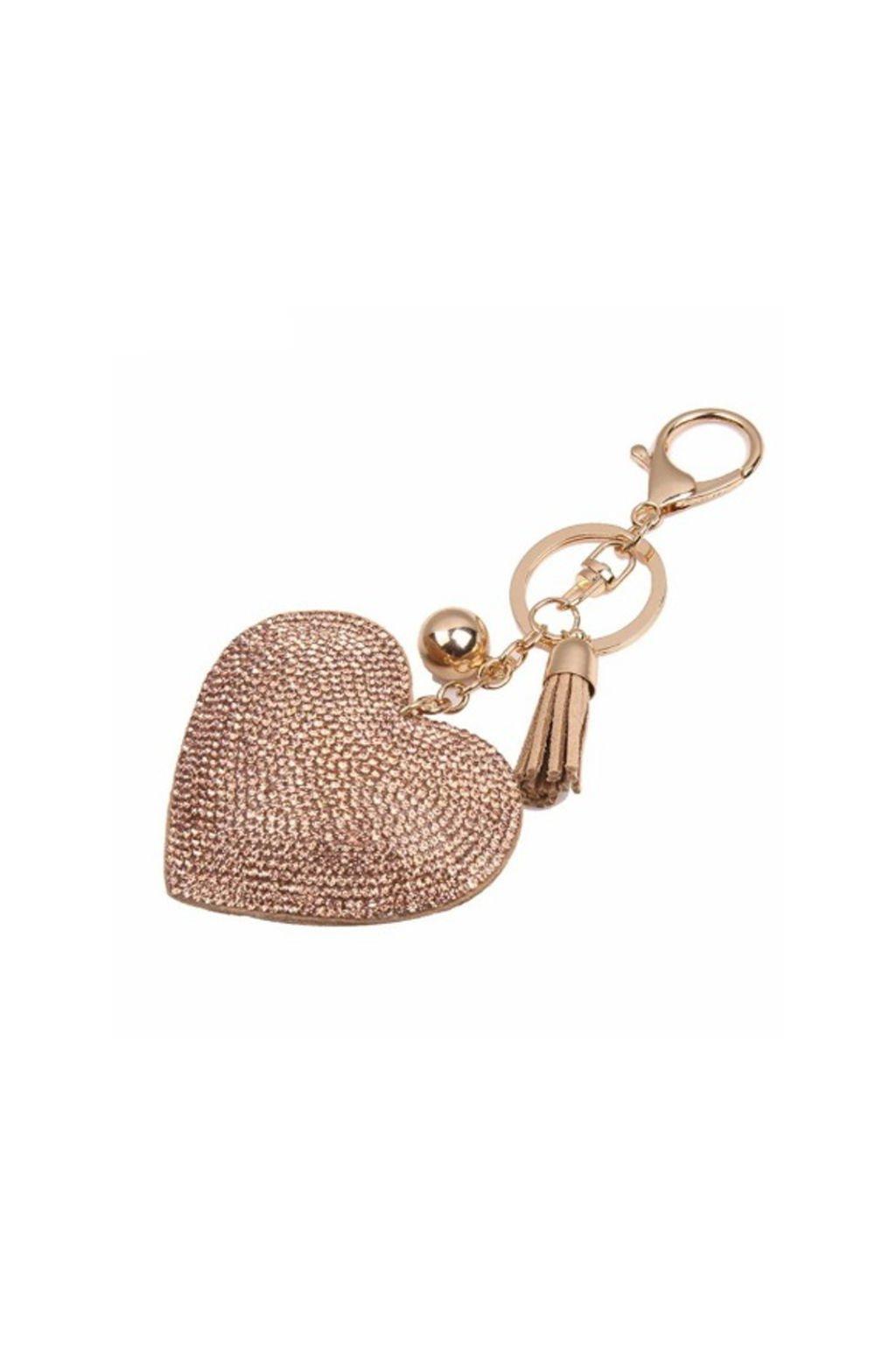 Luxusní přívěsek na kabelku ve tvaru srdce zlatý