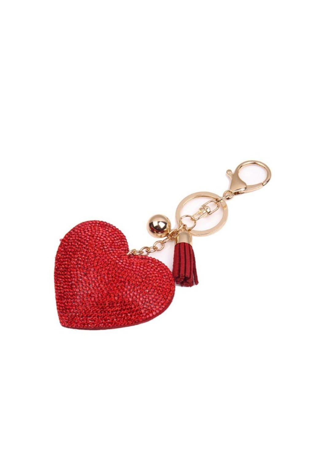 Luxusní přívěsek na kabelku ve tvaru srdce červený