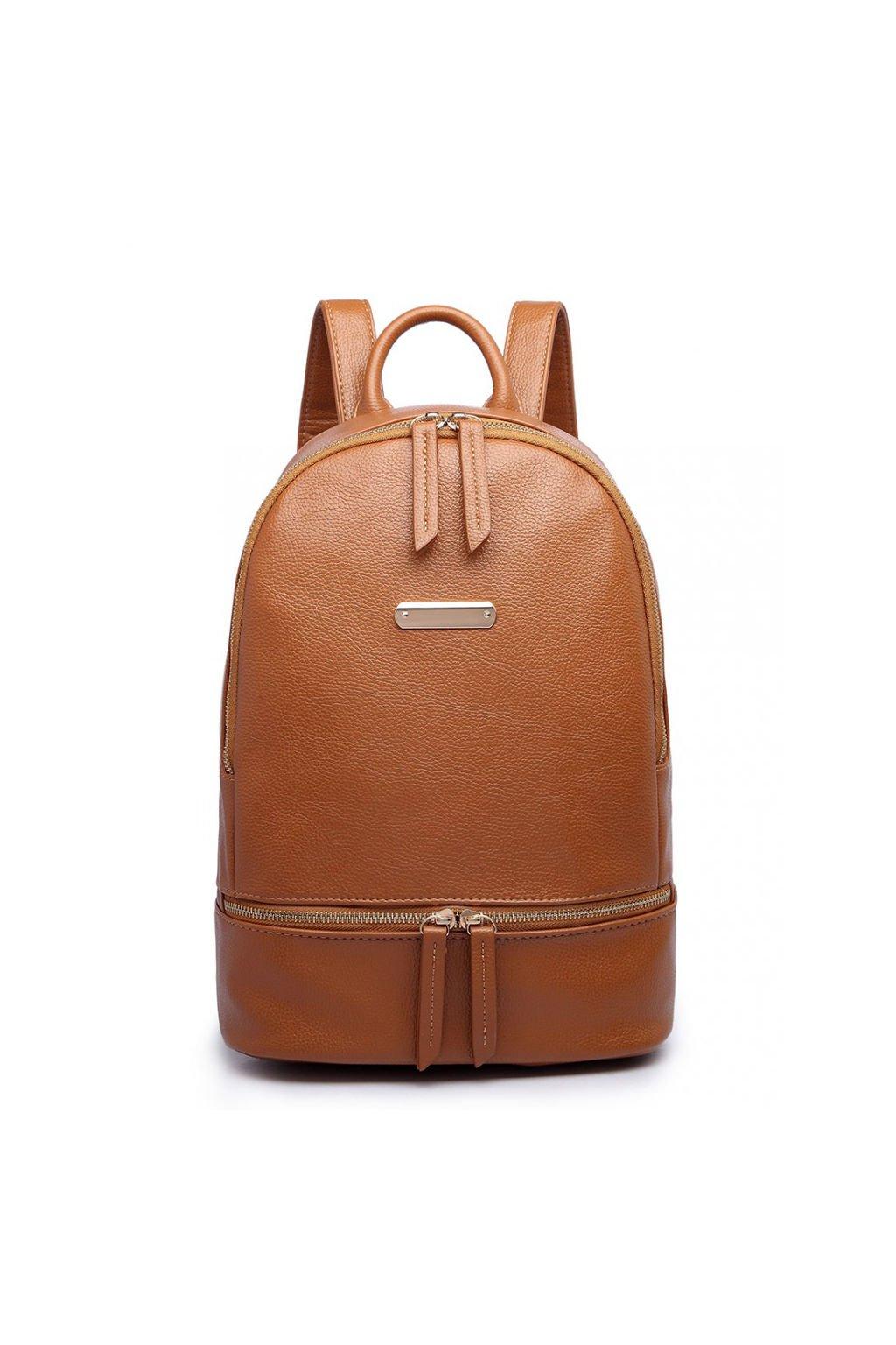 Elegantní hnědý batoh z eko kůže Miss Lulu