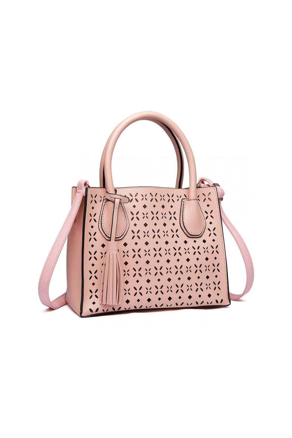 Růžová perforovaná kabelka do ruky