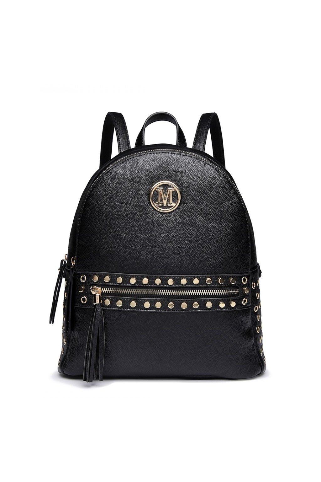 Černý batoh Miss Lulu se zlatými doplňky
