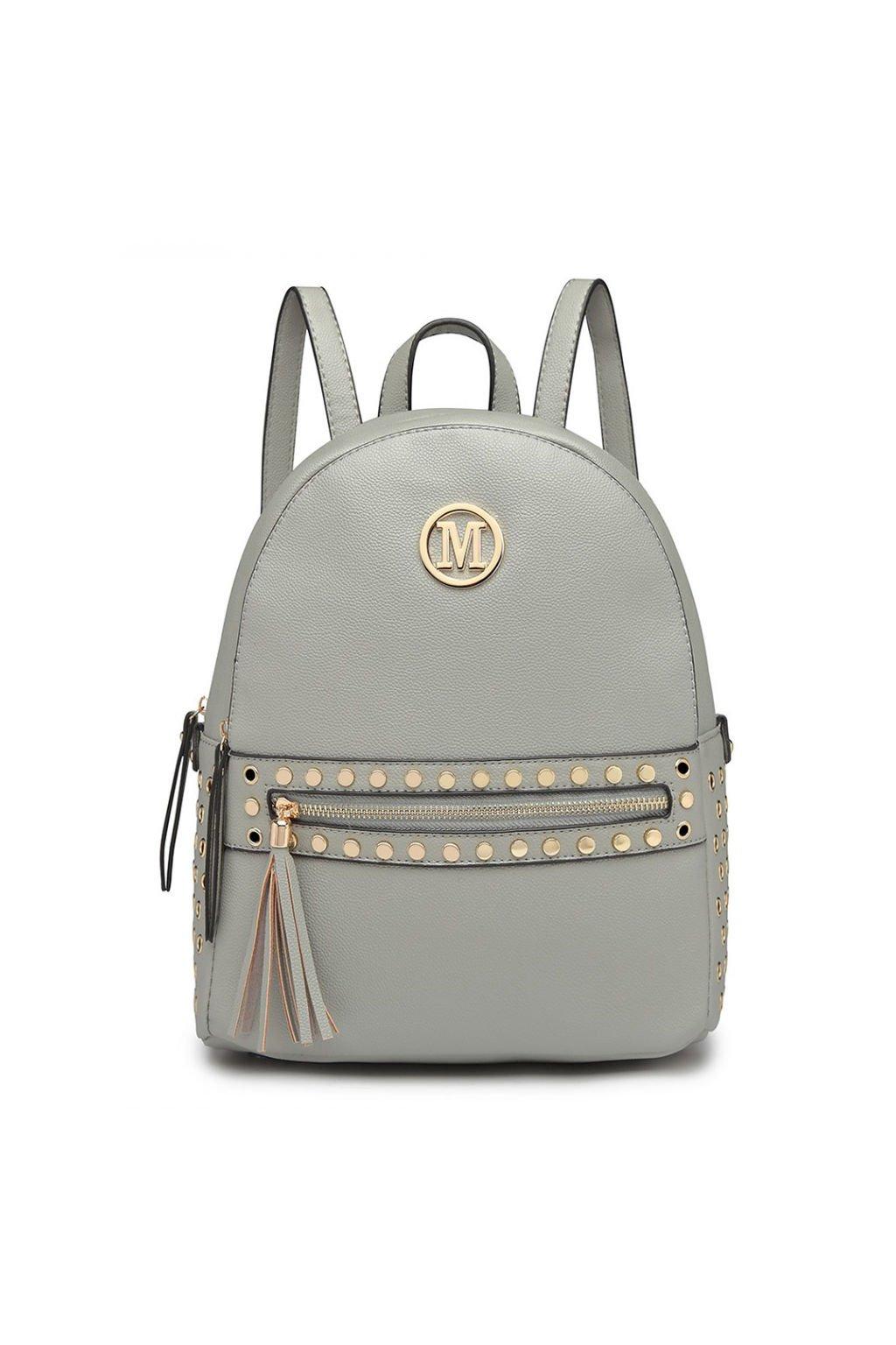 Šedý batoh Miss Lulu se zlatými doplňky