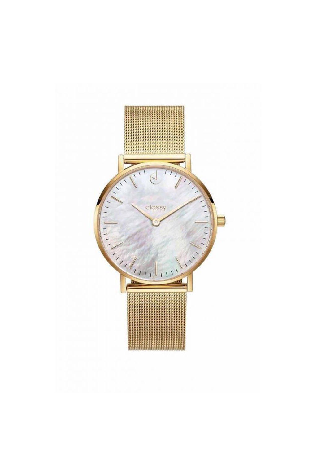 Elegantní hodinky Classy zlaté barvy s kovovým páskem