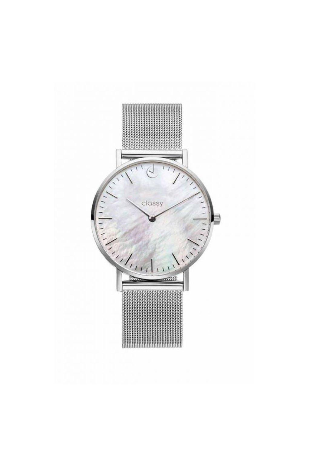 Elegantní hodinky Classy stříbrné barvy s kovovým páskem