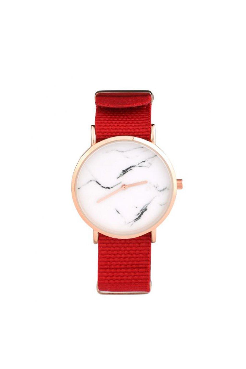 Červené textilní hodinky s mramorovým motivem