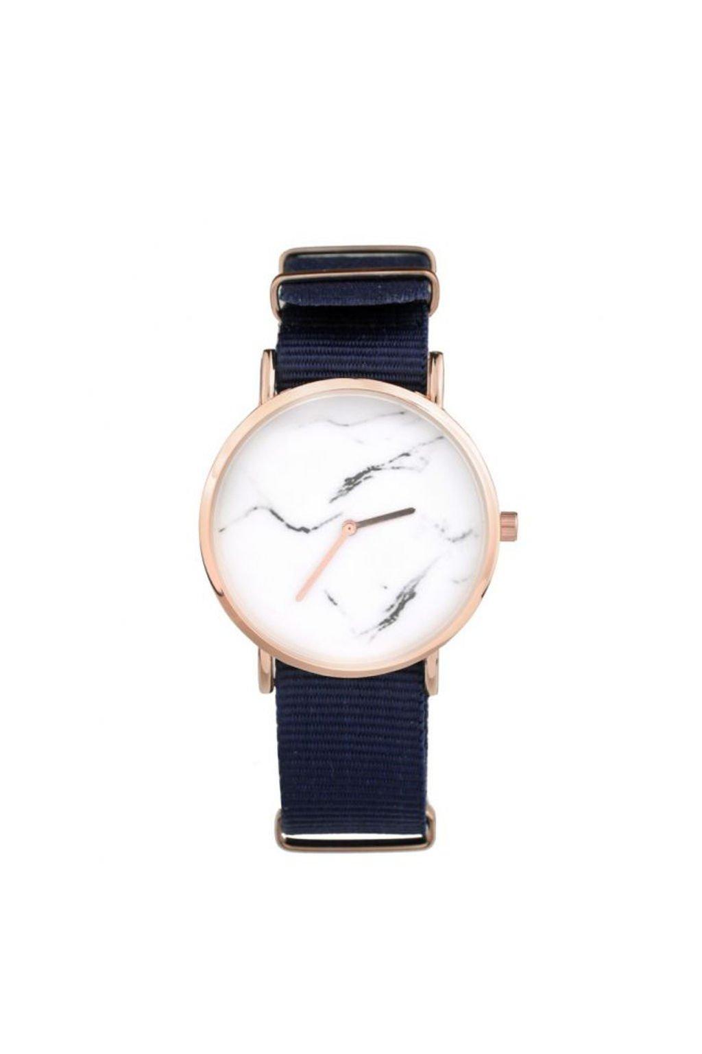 Tmavě modré textilní hodinky s mramorovým motivem