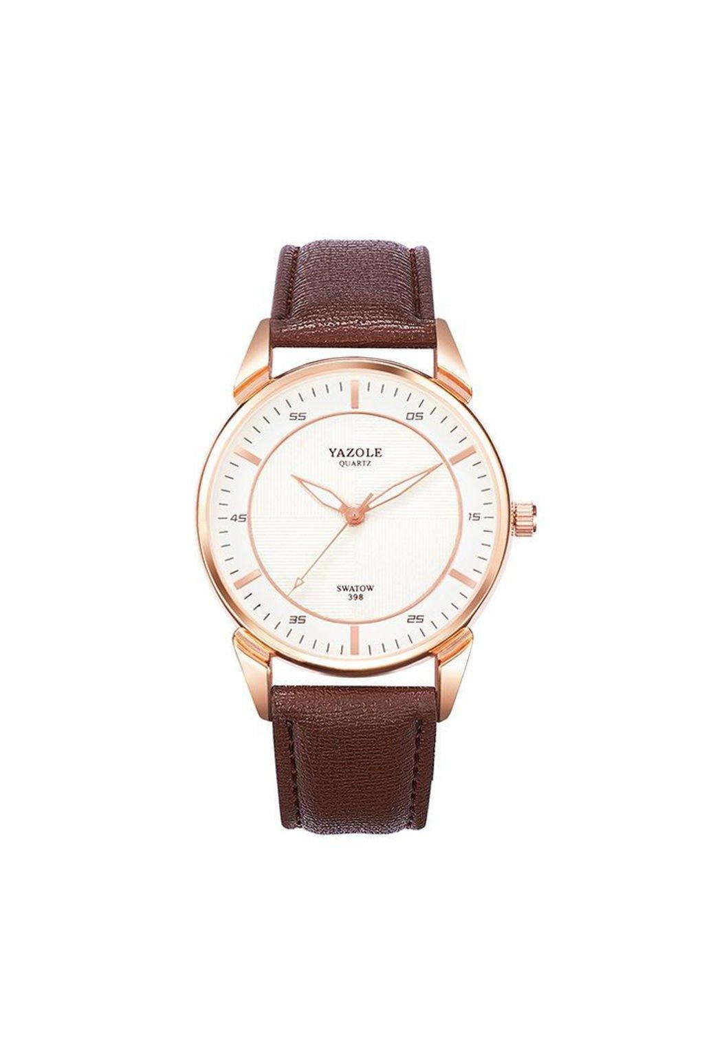 Elegantní hnědé pánské hodinky s bílým ciferníkem
