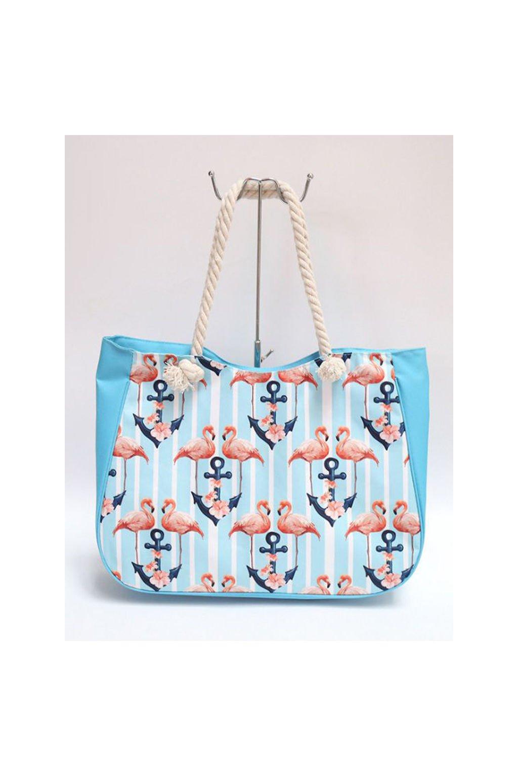 Světle modrá plážová taška s potiskem