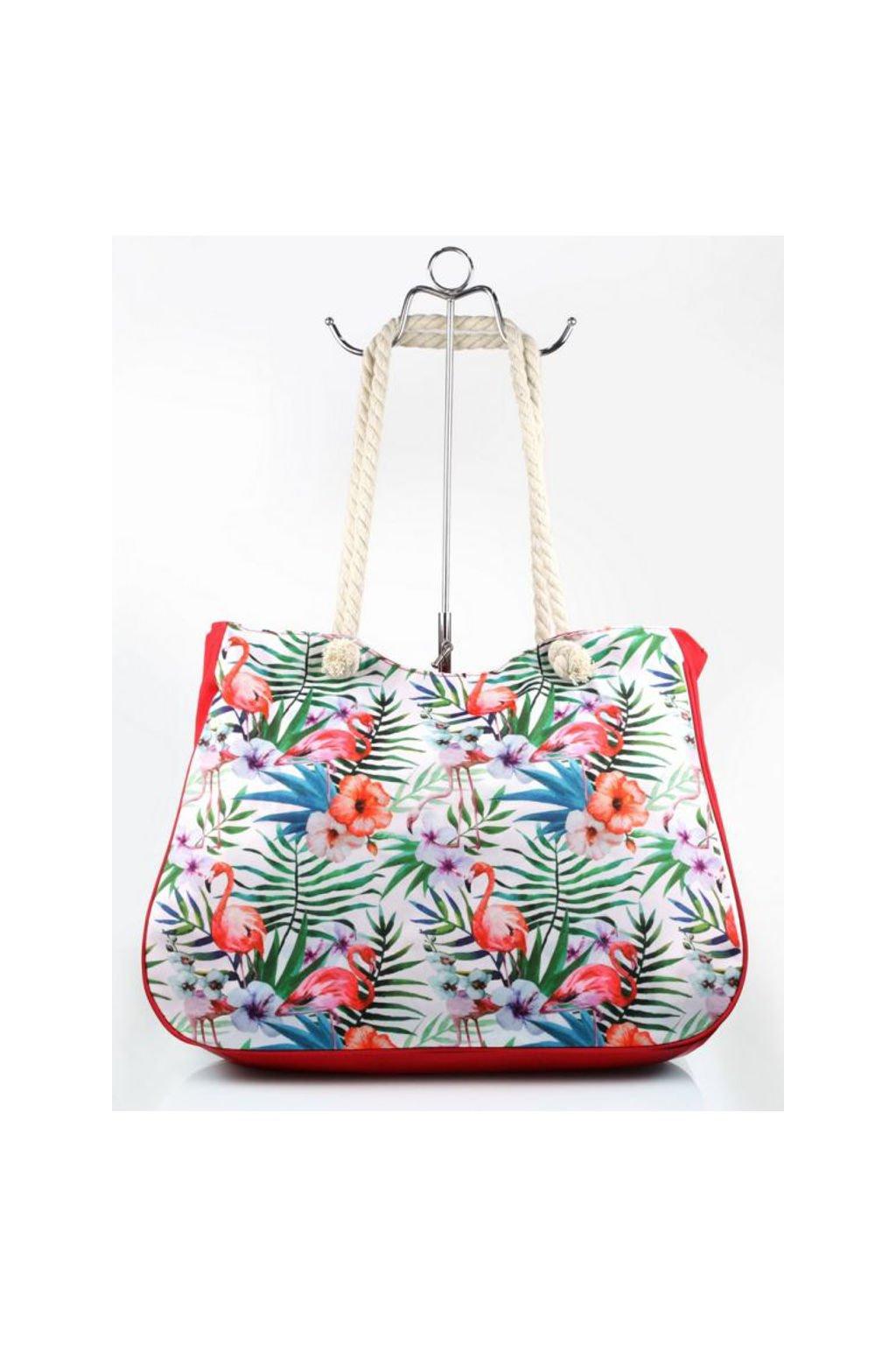 Červená plážová taška s tropickým potiskem
