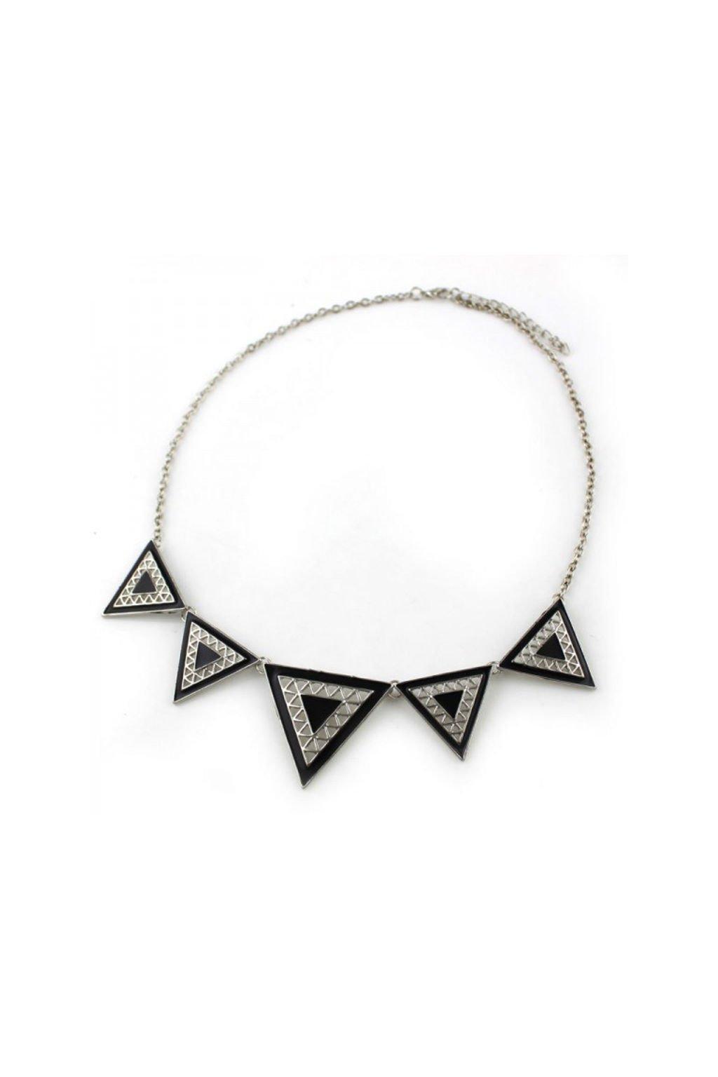 Velký černo-stříbrný náhrdelník Geometric