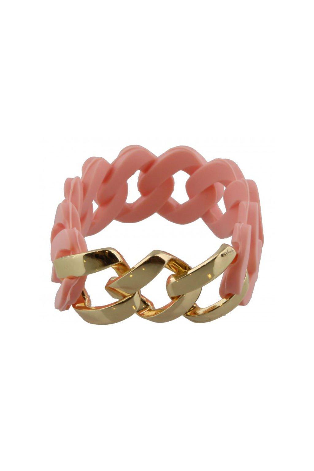 Růžový gumový náramek se zlatým zdobením