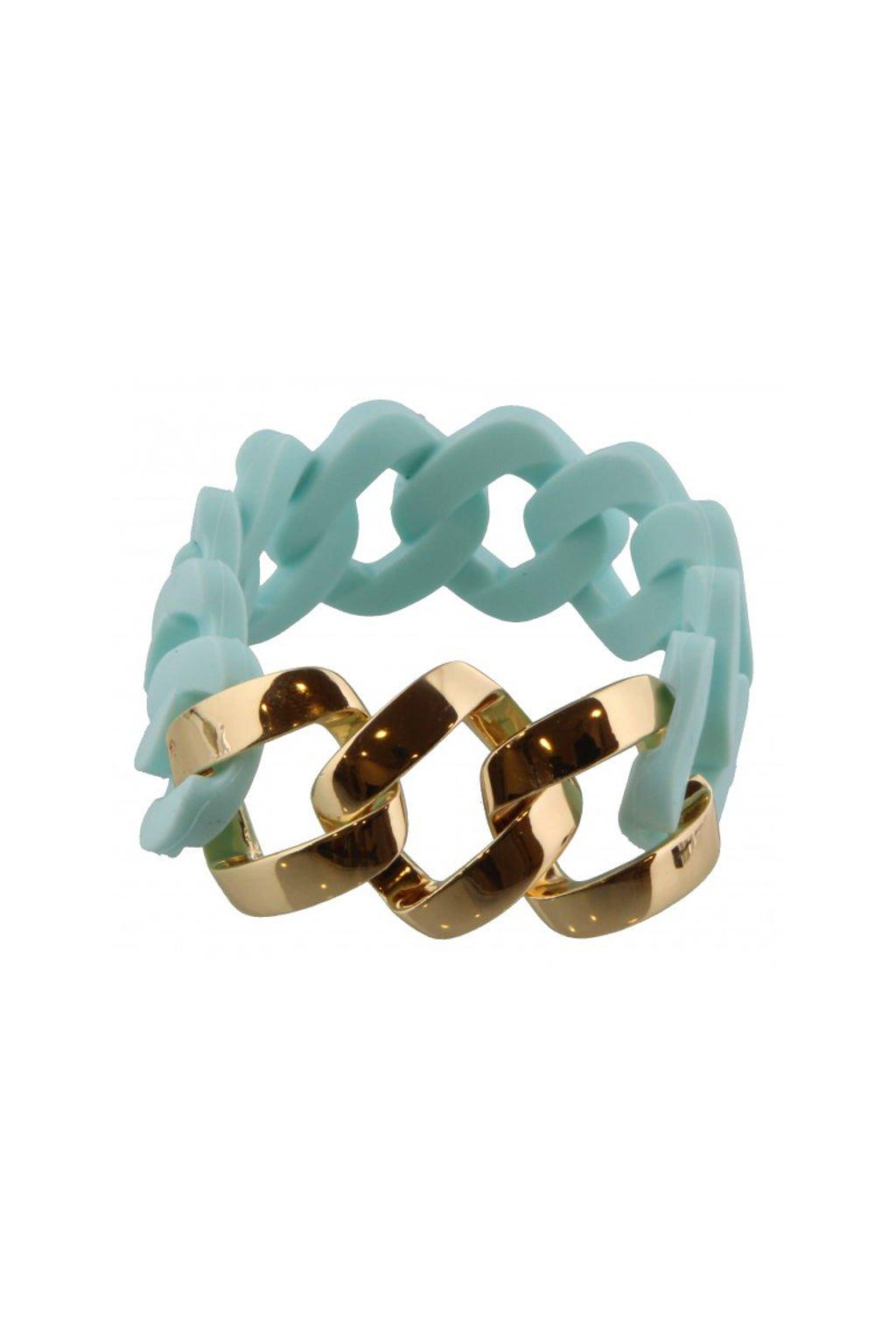 Světle modrý gumový náramek se zlatým zdobením