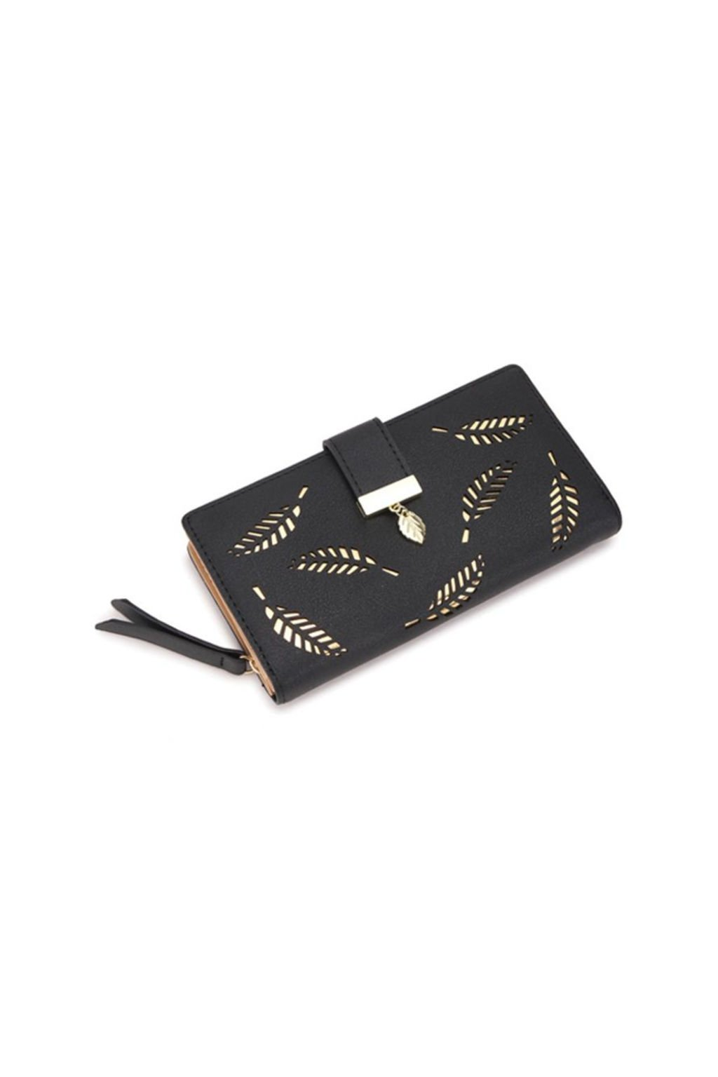 Černá peněženka s motivem listu