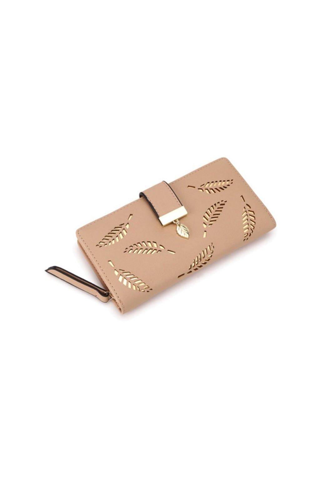 Béžová peněženka s motivem listu