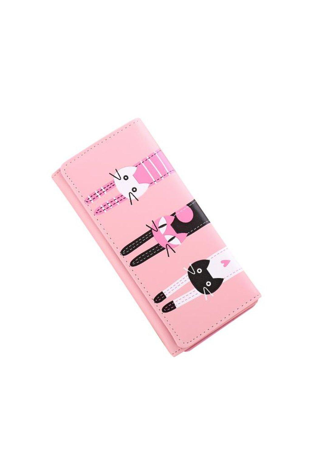 Roztomilá růžová peněženka s kočkami