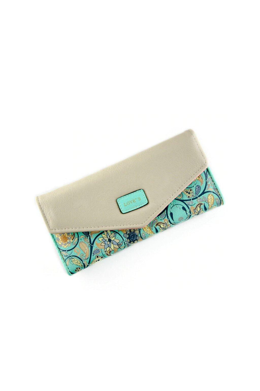 Elegantní zelená květinová peněženka