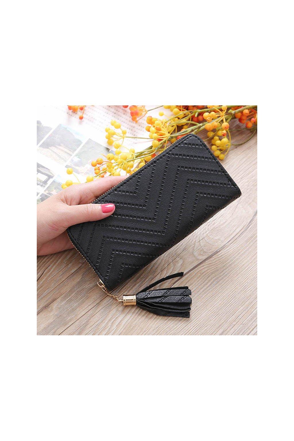 Elegantní černá peněženka na zip