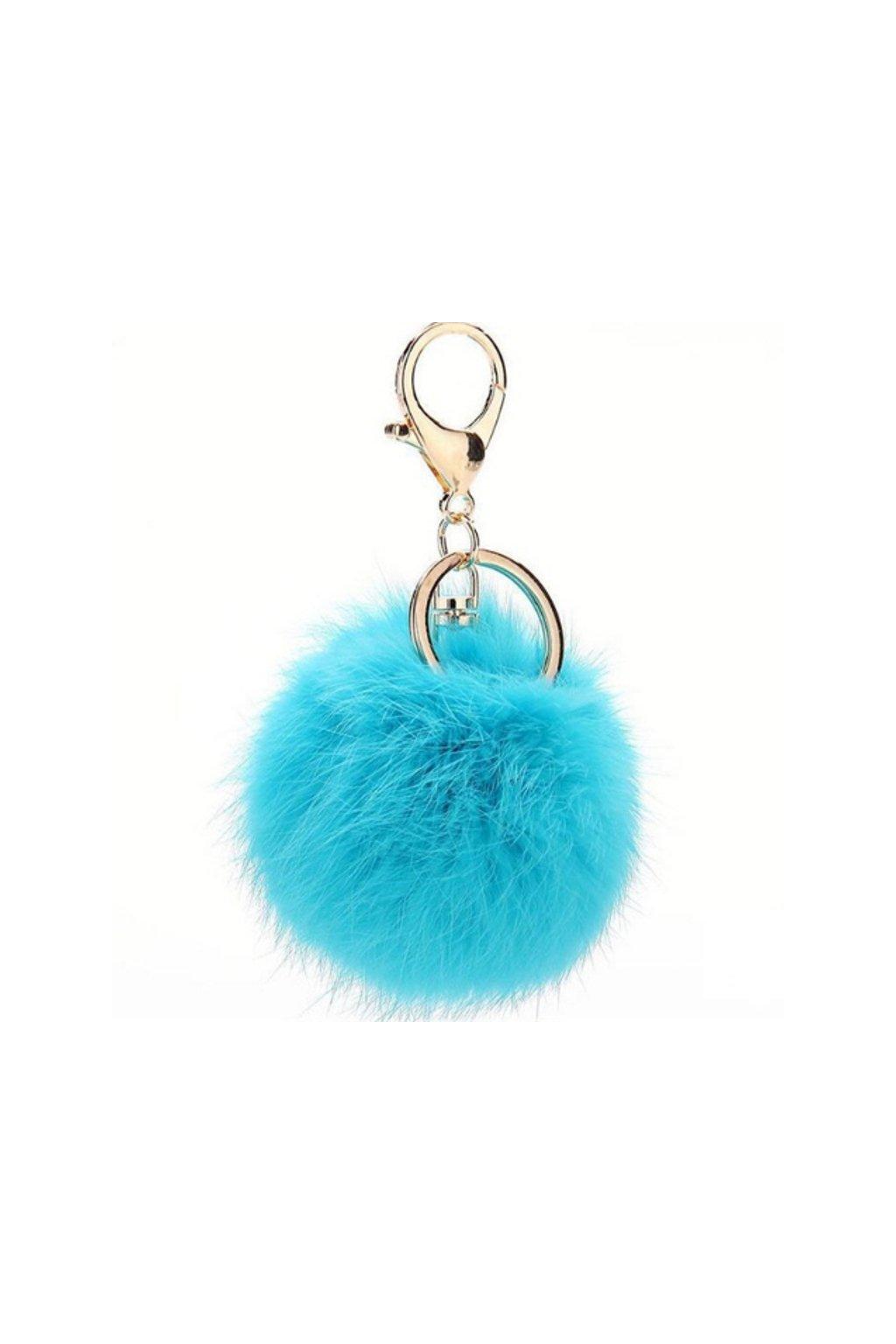 Kožešinový přívěsek na kabelku modrý