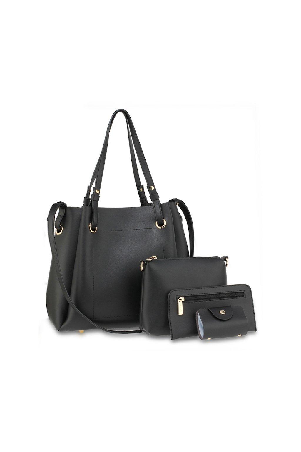 Elegantní černý set 4v1 kabelka a peněženka