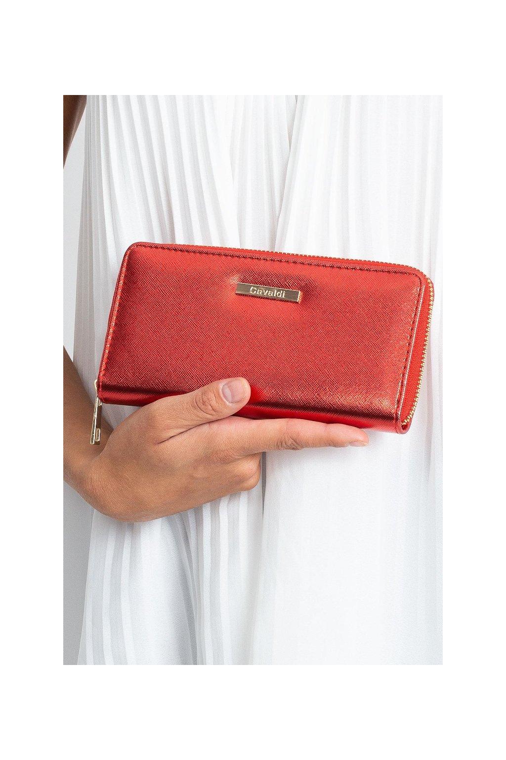Červená peněženka Cavaldi na zip