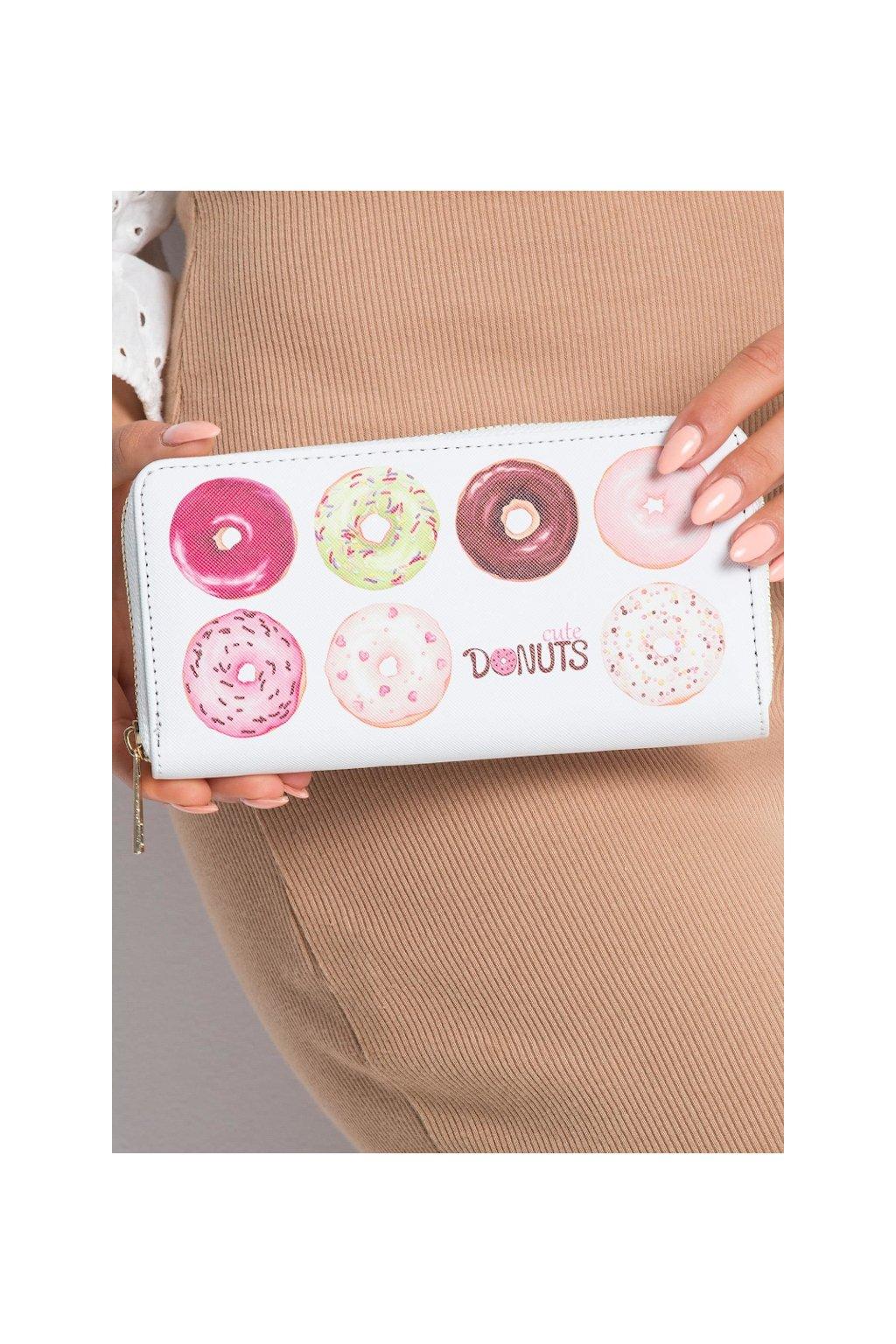 Bílá peněženka s potiskem donutů