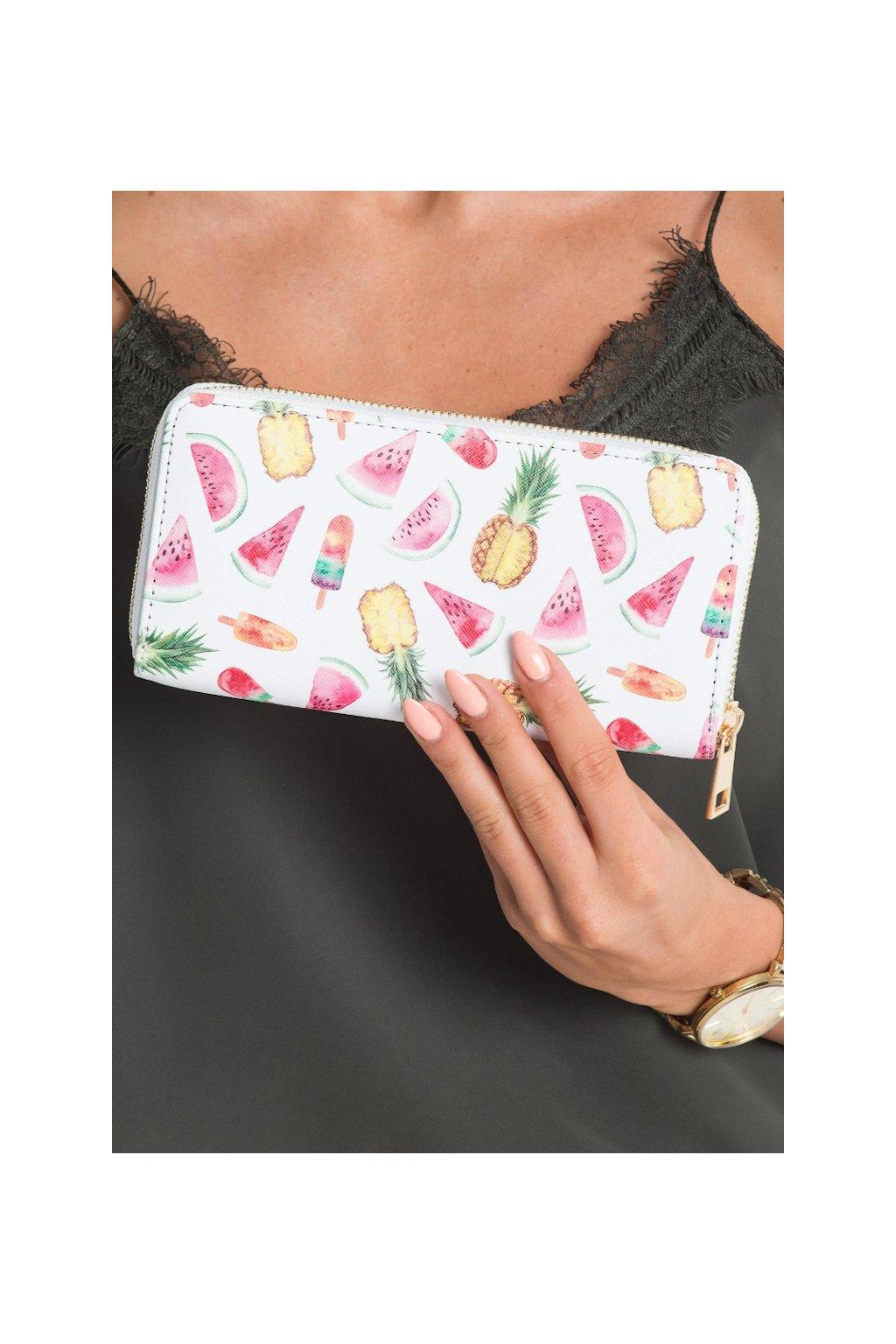 Bílá peněženka s potiskem ovoce